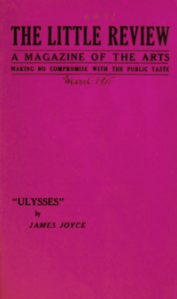 Cover of The Little Review, March 1918, with text reading Ulysses by James Joyce.