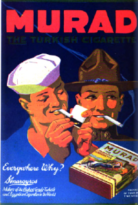 Murad cigarette ad showing a sailor and soldier lighting cigarettes, 1918.