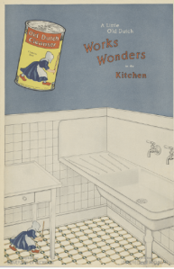 Old Dutch Cleanser ad showing tiny woman cleaning a kitchen floor, 1918.