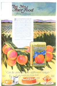 Blue Ribbon peaches ad showing peaches in front of a field, 1918.