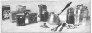 Drawing of kitchen items, Good Housekeeping, January 1918.