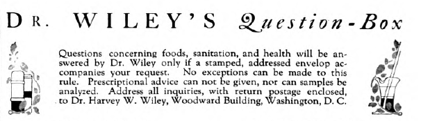 Header for Dr. Wiley's Question-Box, Good Housekeeping magazine, 1918, with instructions for submitting questions.