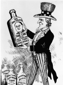 Cartoon of Uncle Sam holding bottle saying Old Doc Wiley's Sure Cure.