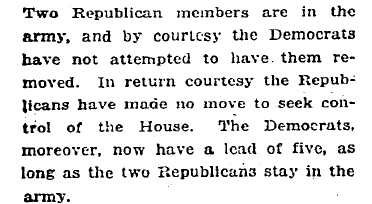 Paragraph from New York Times about congressional balance of power, March 6, 1918.