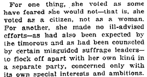 New York Times editorial discussing how New York women voted, March 1918.
