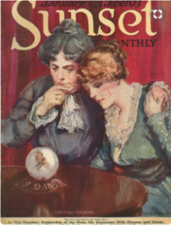 Sunset magazine cover, January 1918, two women looking worriedly into chrystal ball that says 1918.
