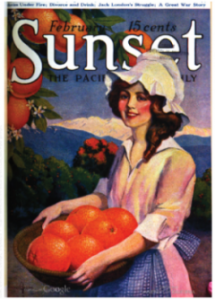 Sunset magazine cover, February 19, woman holding a basket of oranges.