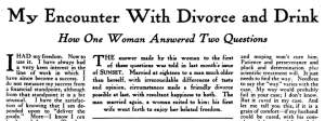 Sunset magazine headline and story text, My Encounter with Divorce and Drink, February 1918.
