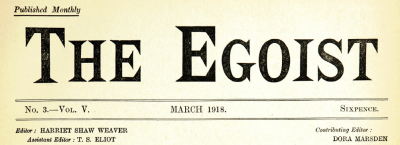 The Egoist banner, March 1918