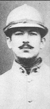 Poet Alan Seeger in military uniform with helmet.