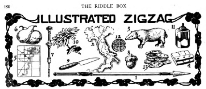 Illustration for Illustrated Zigzag puzzle, St. Nicholas magazine, 1918.
