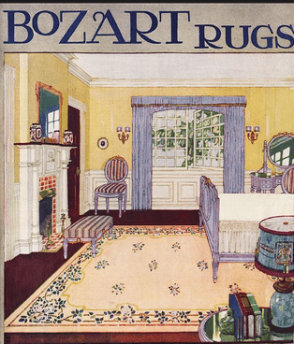 1918 advertisement for Bozard rugs. Painting of bedroom with a pink rug.