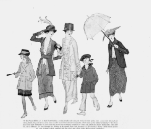 Drawing of the De Pinna family, owners of the De Pinna department store, wearing Easter finery, Harper's Bazar, April 1918.