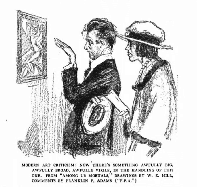 W.E. Hill cartoon showing man standing in front of modern painting talking pretentiously to woman.