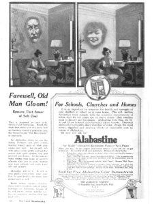 1918 advertisement for Alabastine showing disembodied faces on walls.