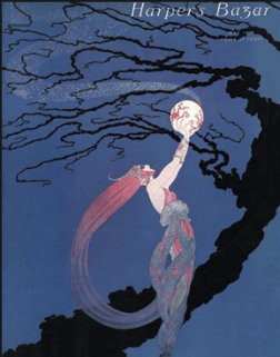 Erté May 1918 Harper's Bazar cover, woman holding up globe with fireflies flying out.