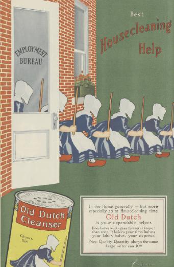 1918 Old Dutch Cleanser ad. Hooded women leaving employment bureau.