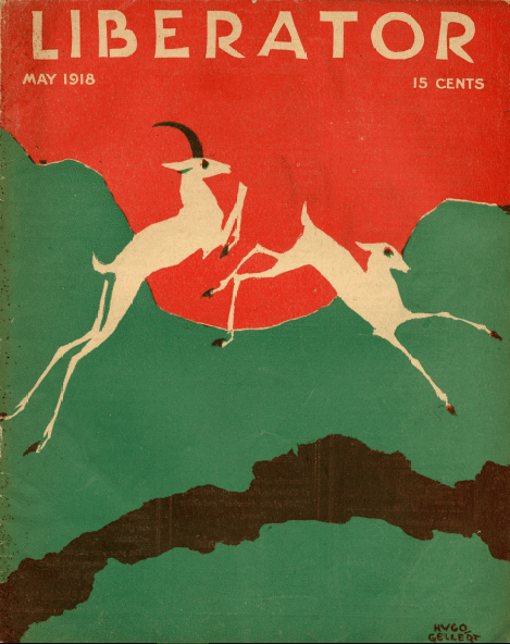 May 1918 Liberator cover by Hugo Gellert. Illustration of jumping deer on abstract background.