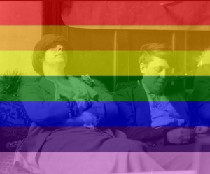 Photograph of Margaret Anderson and Jane Heap with rainbow flag tint.