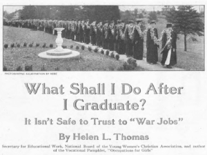 Headline of Ladies' Home Journal June 1918 article titled What Shall I Do After I Graduate? It Isn't Safe to Trust to War Jobs.