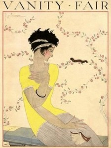 July 1918 George Lepape Vanity Fair cover showing startled flapper looking at caterpiller on wallpaper.