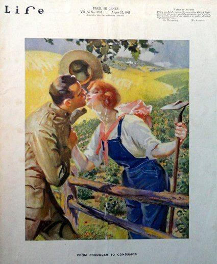 1918 Life magazine cover, farmerette kissing soldier in field.