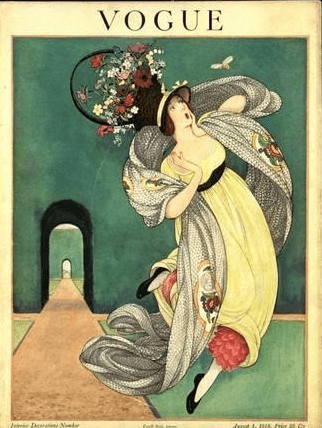 George Wolfe Plank August 1, 1918 Vogue cover. Startled woman with flowered hat looking at butterfly.