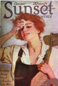 October 1918 Sunset magazine cover, farmerette in overalls wiping brow.