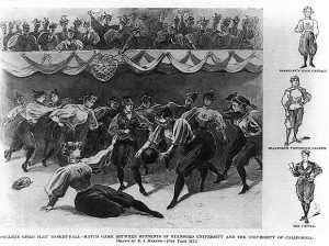 Drawing of women's basketball game, Stanford vs. University of California, 1896