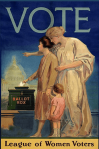 League of Women Voters poster, 1920, women looking at Capitol.