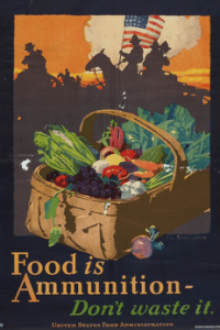 Poster by John Sheridan, 1918, showing basket of vegetables in front of and soldiers. Caption: Food is Ammunition: Don't waste it.