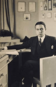Young Roman Petrovich Tyrtov (Erté) at his desk, date unknown.