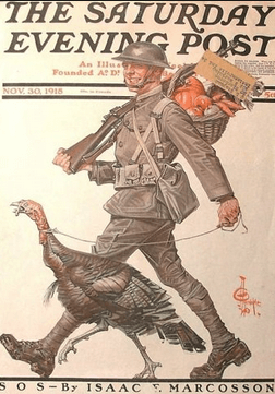 Saturday Evening Post cover, soldier walking turkey, 1918.