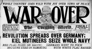 New York Evening World headline, War Over.