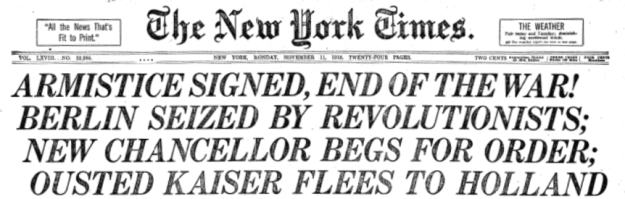 New York Times Armistice headline.