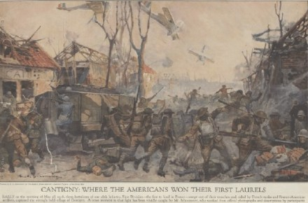 Painting of battle at Cantigny.