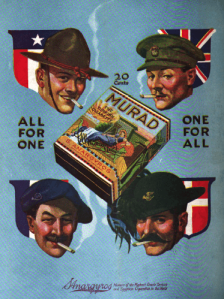 Murad cigarette ad with Allied soldiers smoking.