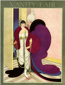 Vanity Fair cover of society women whispering to other woman.