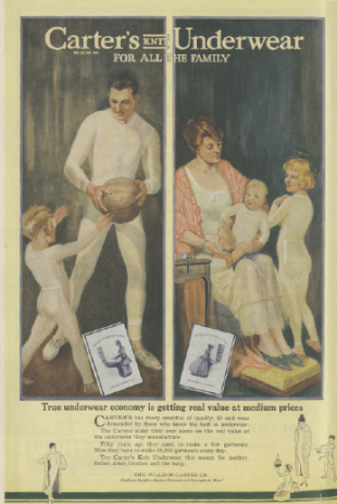 1918 Carter's Underwear ad with family members wearing long underwear.