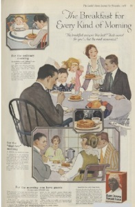 1918 ad for Aunt Jemima pancake mix with family eating at table.
