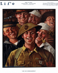 Norman Rockwell Life magazine cover of smiling soldiers, 1918.