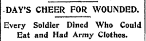 New York Times headline, Day's Cheer for Wounded.