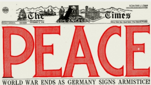 Los Angeles Times headline on WWI armistice, PEACE in huge red letters.