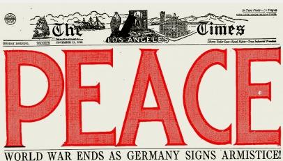 Los Angeles Times headline, PEACE.