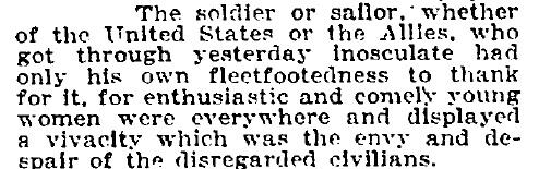 New York Times text, The soldier or sailor...who had got through yesterday inosculate...