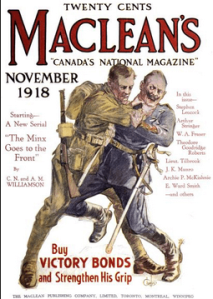 Maclean's magazine cover, soldier strangling Kaiser.