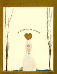 Georges Lepape cover of woman holding up heart, caption Le Coeur de la France, 1918.