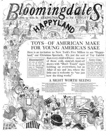 Bloomingdales ad, 1918. Happyland. Toys of American make for young America's sake. Children looking at toys.