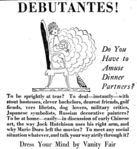 1918 advertisement for Vanity Fair headlined Debutantes! Do You Have to Amuse Dinner Partners?