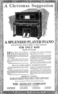 Advertisement for player piano from The Aeolian Company, 1918.